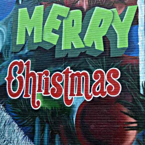 Merry Christmas als Graffiti auf Wand