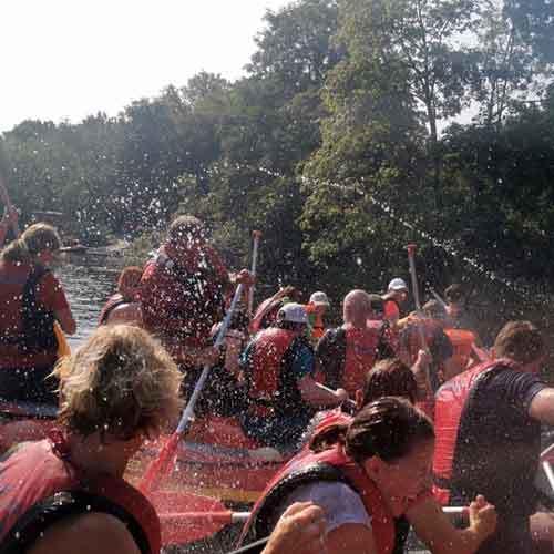 Wasserschlacht beim Rafting